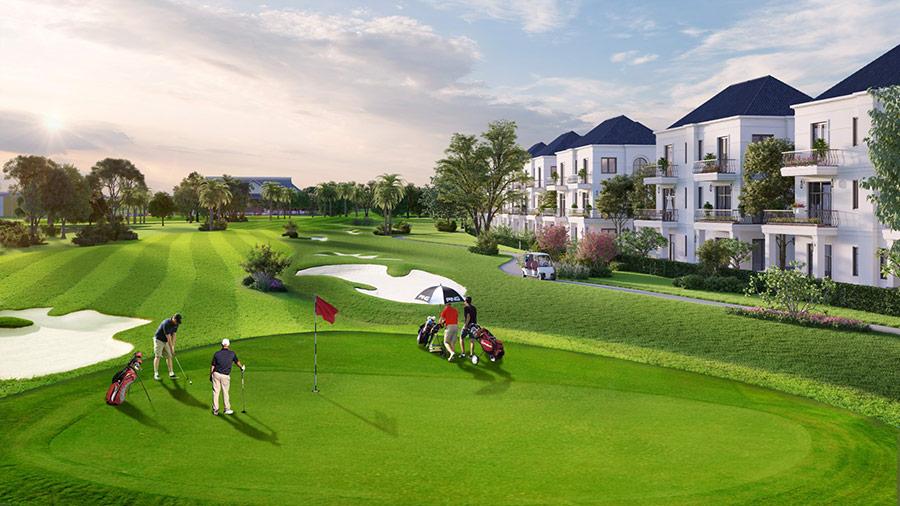 Xây dựng dọc sườn golf, biệt thự West Lakes Golf & Villas đều sở hữu hướng nhìn ôm trọn sân golf. Ảnh phối cảnh: Trần Anh Group.